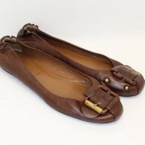 Chloé Brown Leather Ballet Flats